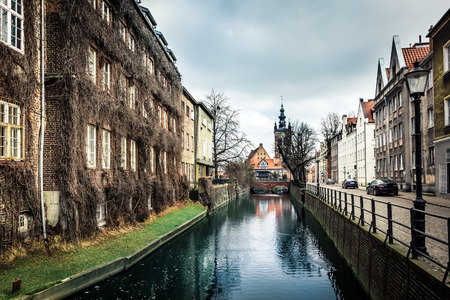 gdansk: canal and old historic buildings in the old town of Gdansk, Poland