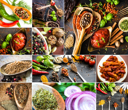 photo collage of various spices, fresh and dried