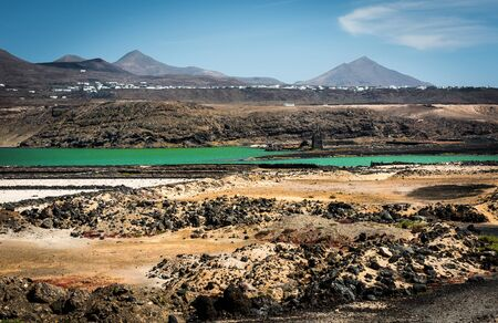 lanzarote: beautiful mountain landscape with a lake on the island of Lanzarote, Canary Islands Stock Photo