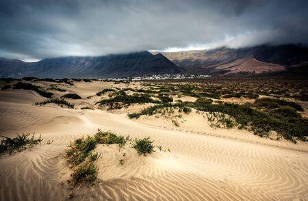 lanzarote: beautiful desert mountain landscape on the island of Lanzarote
