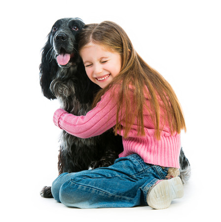 cute llittle with black cocker spaniel  on a white background photo