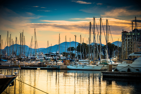 luxury travel: Beautiful marina view, sailboats and motorboats in port Stock Photo