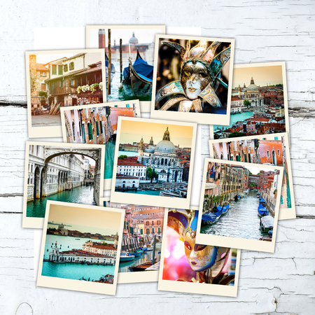 collage of polaroid photos from Venice  on wooden table Standard-Bild