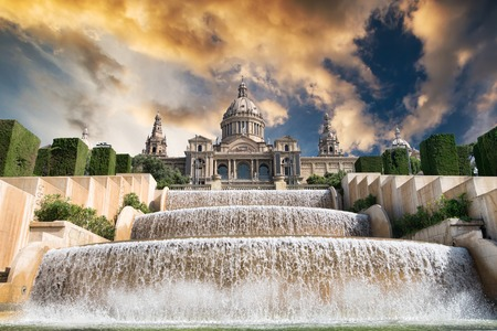 The Palau Nacional situated in Montjuic in sunset, Barcelona Editorial