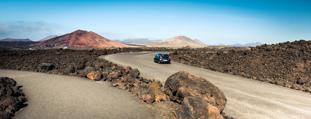 canarian: mountain road in Lanzarote, Canary Islands Stock Photo