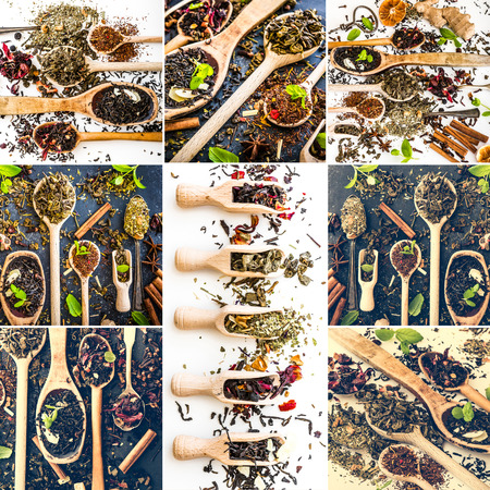 ginger flower plant: photo collage different kinds of tea and kitchen herbs on wooden spoons