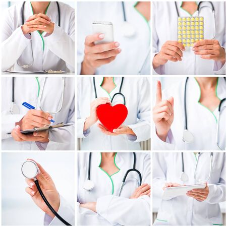 health collage: photo collage of a woman doctor in a white lab coat with stuff