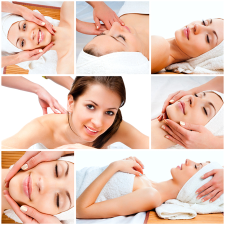 skin care: photo collage of a beautiful young girl doing facial massage