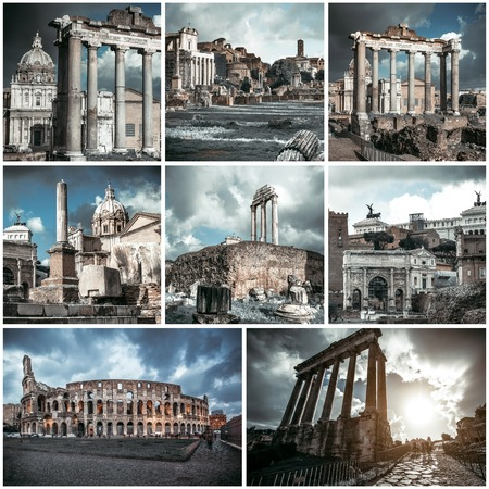 travel collage: Photo collage of view of the Roman Forum, Italy Stock Photo