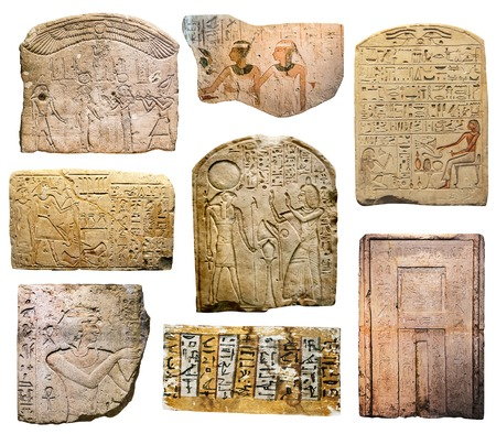 photo collage of the ancient Egyptian paintings, reliefs and inscriptions on stones