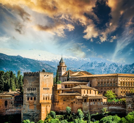 View of the famous Alhambra, Granada in Spain. Redactioneel
