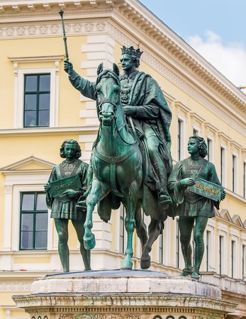 ludwig: Munich, Germany - 13 May 2014: great statue of King Ludwig I in Munich, Germany
