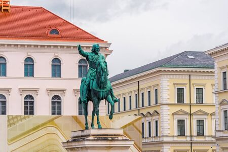elector: Munich, Germany - 13 May 2014: Equestrian statue of the first Elector Maximilian I in the square Wittelsbac, Munich in Germany Editorial