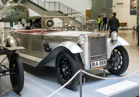 showpiece: Munich, Germany - 13 May 2014: old retro car model in the German Museum of Science and Technology (Das Deutsche museum) in Munich, Bavaria, Germany