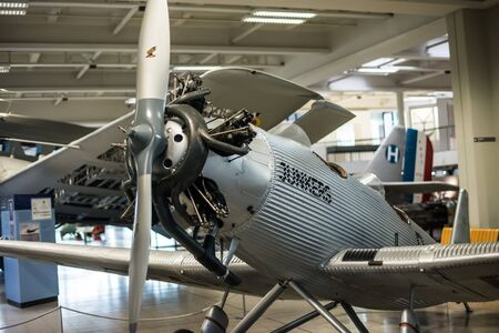 showpiece: Munich, Germany - 13 May 2014:  plane in the German Museum of Science and Technology or Das Deutsche museum in Munich, Bavaria, Germany Editorial