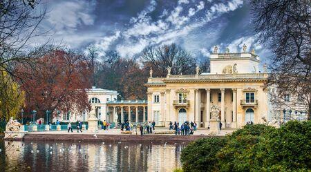 lazienki: Warsaw, Poland - november 09, 2014: The Lazienki palace in Lazienki Park in Warsaw. Lazienki Krolewskie.
