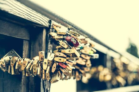 hundreds: hundreds locks on lover bridge as a traditional symbol of eternal feeling Stock Photo