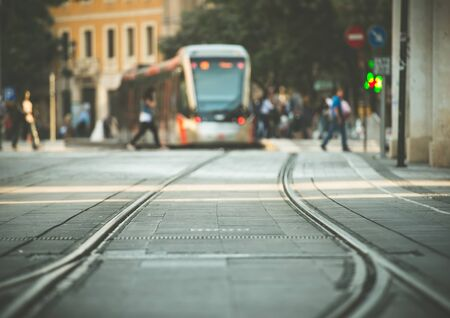 railway points: tram tracks and a tram on the street of Munich, Bavaria, Germany Stock Photo