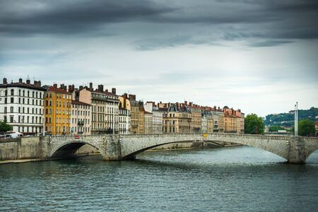 sone: view from river Sona to the Bonaparte bridge and Lyon city, France Stock Photo