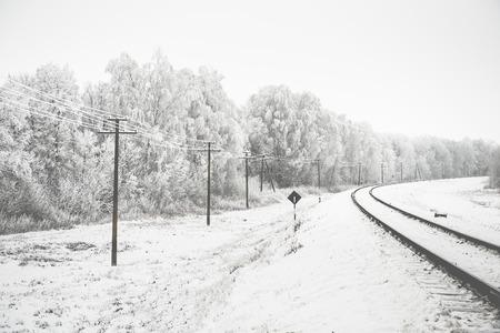 spellbinding: amazing winter landscape of snowy trees along a railway