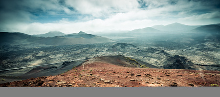 timanfaya: beautiful mountain landscape with volcanoes in Timanfaya National Park in Lanzarote, Canary Islands