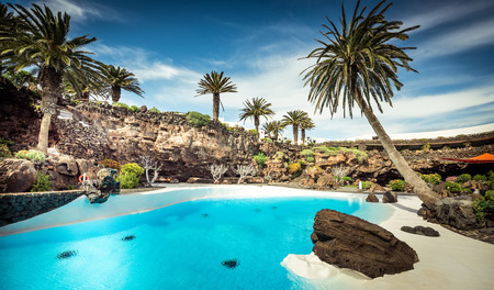 outer Jameos del Agua pool, Lanzarote, Canary Islands, Spain Фото со стока - 41161251