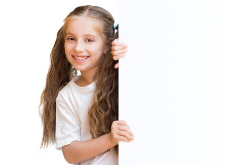 child holding sign: pretty girl with board isolated on a white background Stock Photo