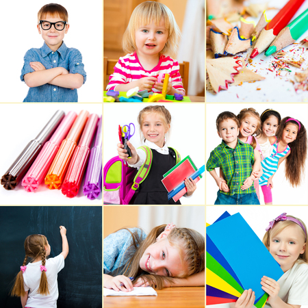 school supplies: Photo collage of small children with their school supplies and toys