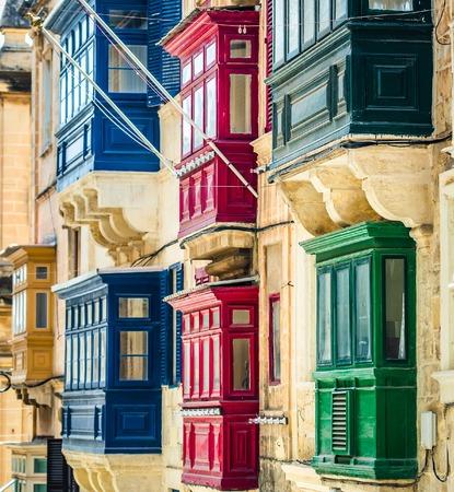 traditional balconies in historical center of Valletta in Malta Foto de archivo