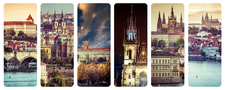 a collage  photographs of old Prague