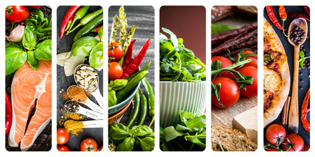 tomates: collage de diferentes verduras e ingredientes alimentarios