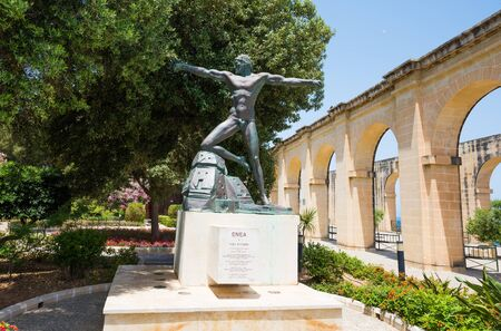enea: Valletta, Malta - 25 May 2015: Enea statue in Lower Barrakka Gardens in Valletta in Malta