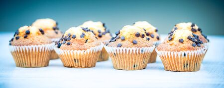 chocolate cakes: plenty of sweet delicious muffins with chocolate drops