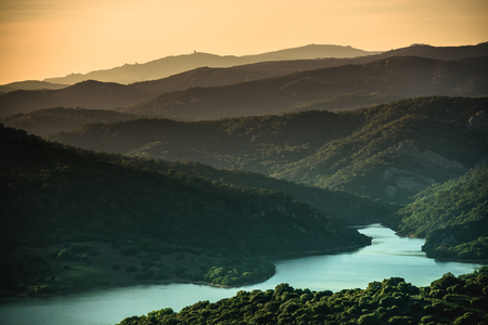wonderful: wonderful landscape of sunset in mountain valley with river Stock Photo