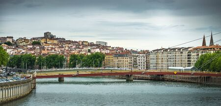 sone: beautiful view from river  Lyon city, France