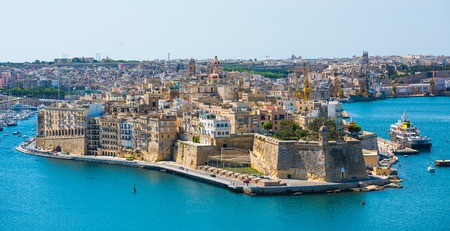 beautiful panoramic view on Valletta from the sea in Malta
