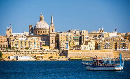 horison: beautiful view on Valletta architecture from the sea in Malta