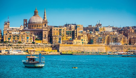 waterfront: scenic View of Marsamxett Harbour and Valletta in Malta