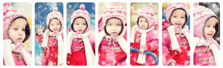 winter photos: collage  photos of a baby girl in winter clothes on the playground