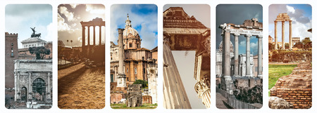 roman empire: collage of historical views of the Roman Forum,  Italy