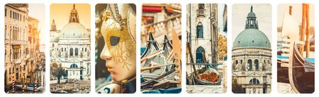 travel collage: collage of different beautiful photos in Venice, Italy Stock Photo