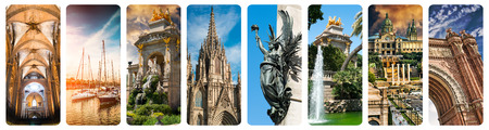 collages: collage of beautiful views of Barcelona, Spain Stock Photo