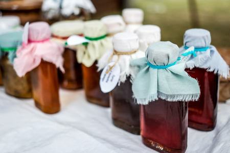 homemade style: homemade liquor in retro countrystyle bottles