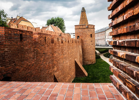 outpost: view on Barbakan walls and towers in Warsaw in Poland