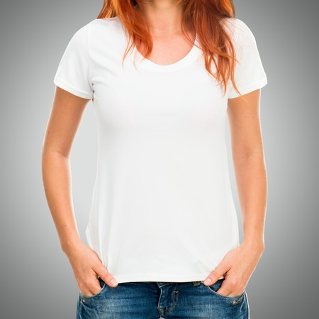 tshirts: Girls body in white t-shirt template on gray background