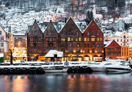 norway: Famous Bryggen street with wooden colored houses in Bergen, Norway Stock Photo
