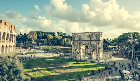 winning location: Rome, Italy - 18 November 2014: The Arch of Constantine is a triumphal arch in Rome near Coliseum Editorial