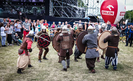 showmanship: Warsaw, Poland - june 20, 2015: knight fights on midsummer holiday fest
