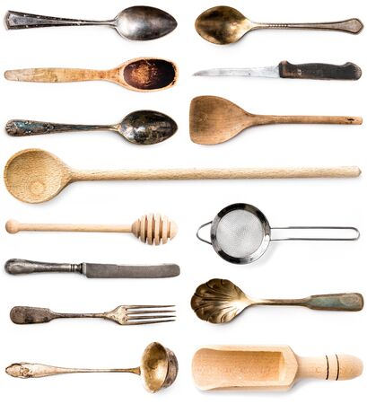 table set: photo collage of wooden or metal kitchen utensils isolated on white background
