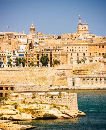 horison: picturesque view on Valletta coastal architecture in Malta
